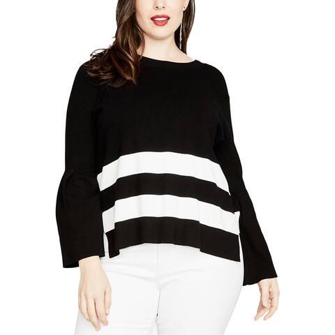 Rachel Rachel Roy Womens Plus Pullover Sweater Tie-Back Bell Sleeves