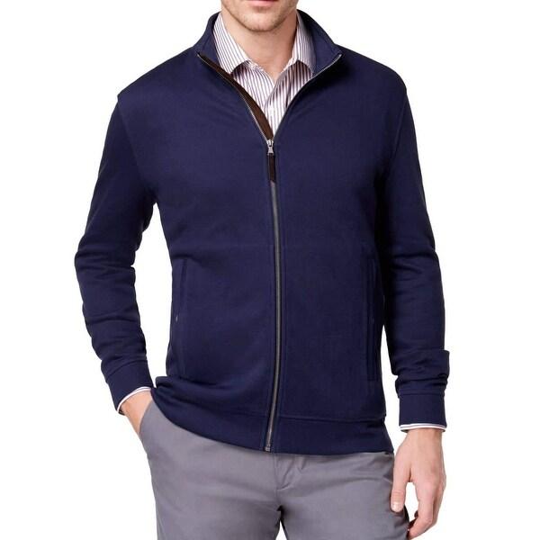 Tasso Elba Blue Navy Men Size Large L Full Zip Mock Neck Knit Jacket