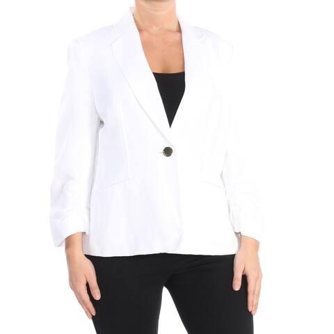 Kasper Women's Blazer White Size 12 One-Button Two-Pocket Notched