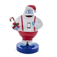 "8.5"" Blue and Red Christmas Themed Rudolph Bumble with Candy Cane Nutcracker"