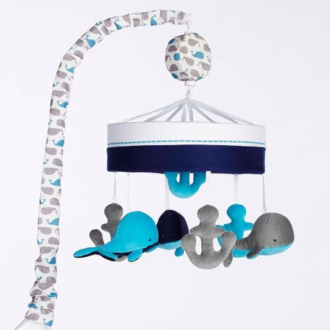 Just Born Baby High Seas Musical Mobile, Whales Blue and Grey Anchors - Grey/Blue - one size