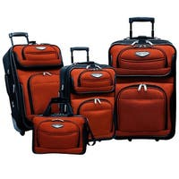 Traveler's Choice Amsterdam 4-Piece Luggage Set - Orange