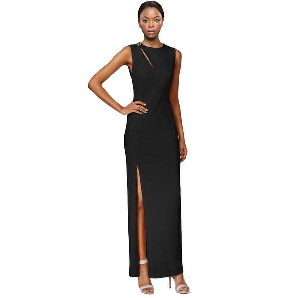 Shop Calvin Klein Crepe Shoulder Cutout Evening Gown Dress - 16 ...
