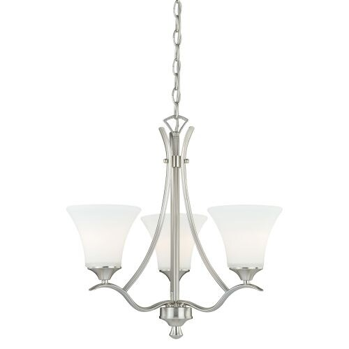Vaxcel Lighting H0096 Cordoba 3 Light Single Tier Chandelier with Etched Glass Shades - 20.5 Inches Wide