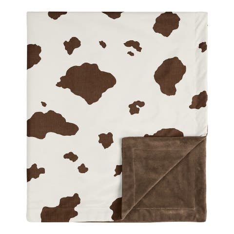 Wild West Cow Collection Boy Baby Receiving Security Swaddle Blanket - Brown and Cream Western Southern Country Animal