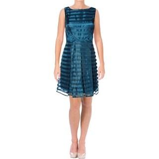 Tahari Womens Petites Peter Party Dress Chiffon Shadow Stripe