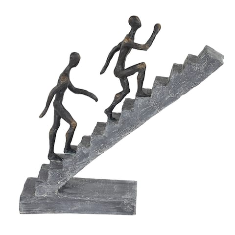 Black w Gold Finish Human Sculptures on Gray Staircase Statue - 8 x 3 x 14