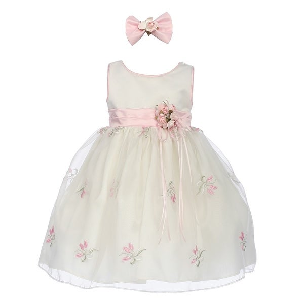d0cb14b3e3313 Baby Girls Ivory Pink Organza Floral Print Tea Length Flower Girl Dress