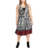 Rachel Roy Womens Plus Cocktail Dress Sleeveless Printed
