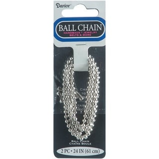 "Ball Chain 3.2mmX24"" 2/Pkg-Silver-Plated - Silver"