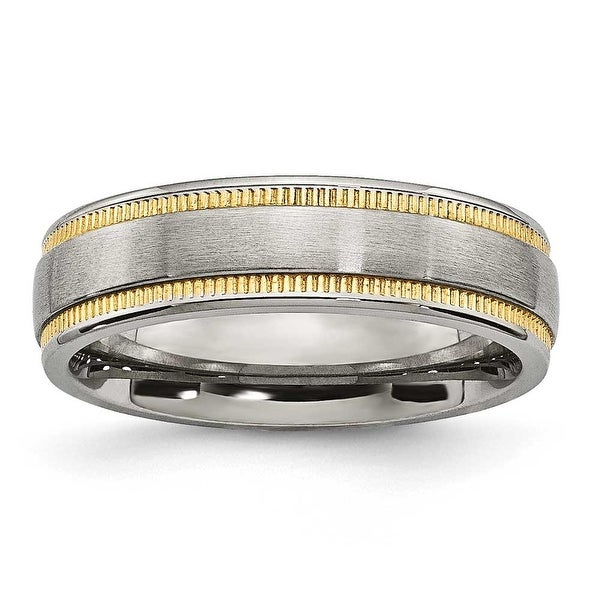 Stainless Steel Brushed and Polished Yellow IP-plated Band Ring (6 mm) - Sizes 6 - 13