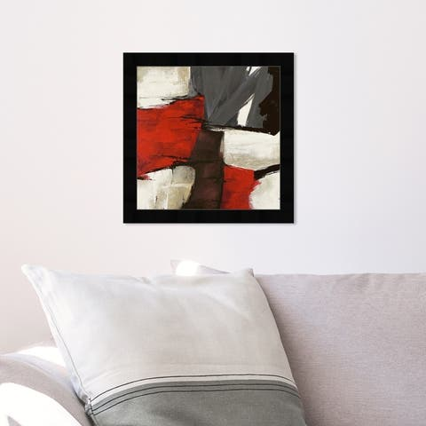 Oliver Gal 'Sai - Rubrum' Abstract Wall Art Framed Print Paint - Red, Black