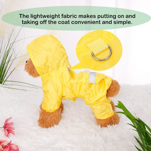 Pet Dog Raincoat Pets Rain Jacket Poncho Clothes Polyester Puppy Water-resistant Hooded Rainwear with Strip Reflective