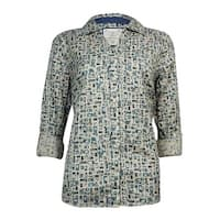 Style & Co Women's Bottle Jar Floral Button Down Blouse - whimsical garden