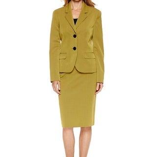 Le Suit NEW Green Citrine Women's Size 4 Two-Piece Skirt Suit Set
