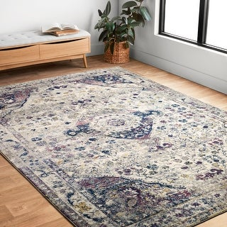 Link to Alexander Home Malik Boho Diamond Distressed Area Rug Similar Items in Rugs