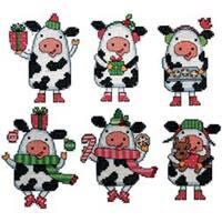"3""X4"" 14 Count Set Of 6 - Cow Ornaments Plastic Canvas Kit"