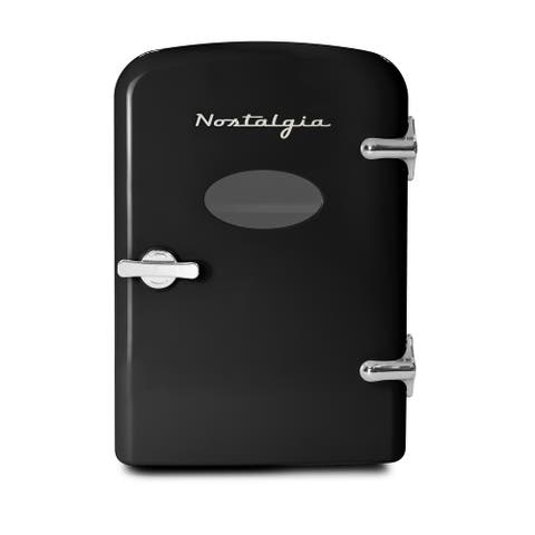 Nostalia RF6RRBK Retro 6-Can Personal Cooling and Heating Refrigerator - Black