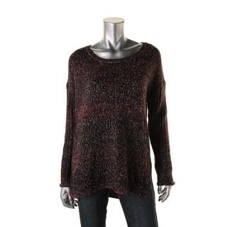 Sanctuary Womens Raw Hem Marled Pullover Sweater