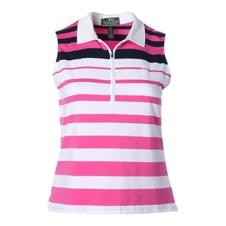 L-RL Lauren Active Womens Sleeveless Striped Shirts & Tops - XL