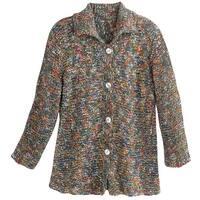 "Catalog Classics Women's Confetti Colors Speckled Cardigan Sweater - 30"" Long"