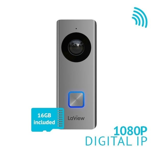 LaView WiFi 1080P Video Doorbell Camera with a 16GB Micro SD card, Motion Detection, Two-Way Audio, Night Vision and Remote View