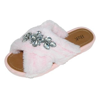 H2K Women's X-Band Slide Slipper with Rhinestone Detail (More options available)