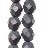 Czech Fire Polished Glass Beads 6mm Round Matte Hematite (25)