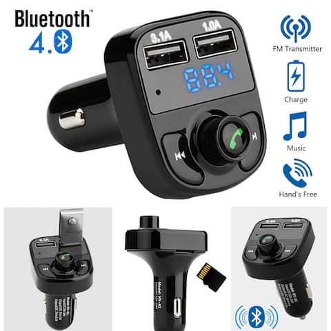 AGPtek Wireless Bluetooth Handsfree Car Kit FM Transmitter MP3 Player Dual USB Charger - S