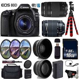Canon EOS 80D DSLR Camera with 18-55mm is STM Lens & 75-300mm III Lens + UV FLD CPL Filter Kit bundle - Intl Model