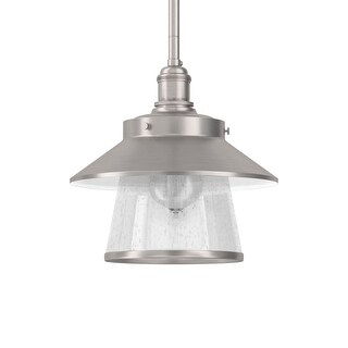 "Park Harbor PHPL5011 Stockton 9"" Wide Single Light Mini Pendant with Industrial Style Shade and Seedy Glass (2 options available)"