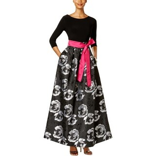 Jessica Howard Womens Evening Dress Jacquard Floral Print
