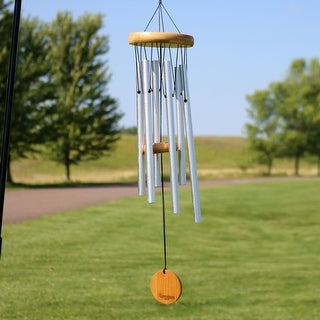 Sunnydaze Hand-Tuned Aluminum Wind Chime with Bamboo Clapper - 22-Inch
