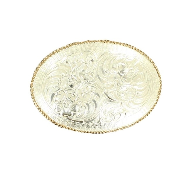 Crumrine Western Belt Buckle Womens Floral Rope Silver Gold - 3 1/4 x 2 1/2