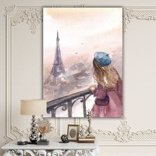 Designart 'Young Paris Girl Watching Eiffel Tower' Traditional Canvas Wall Art