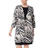 Kasper Beige Women's Size 18W Plus Abstract Hook Topper Jacket
