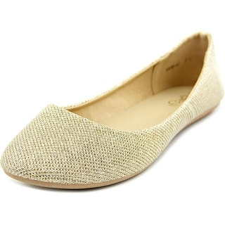 Refresh Demi-07 Women Round Toe Synthetic Gold Flats
