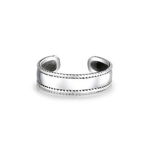 Braided Edge Bali Style Midi Toe Ring For Women For Teen Plain Wide Band 925 Silver Sterling Adjustable Mid Finger