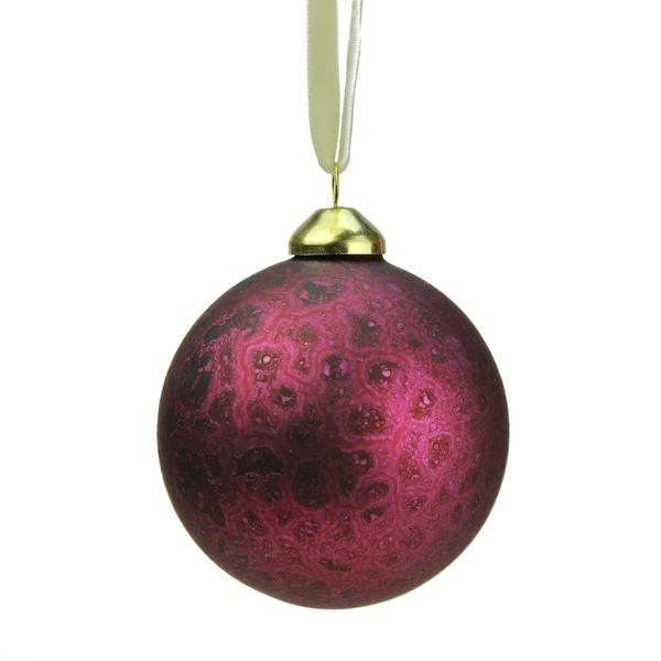 "Set of 3 Rich Elegance Plum Patina Glass Christmas Ball Ornaments 3"" (80mm)"