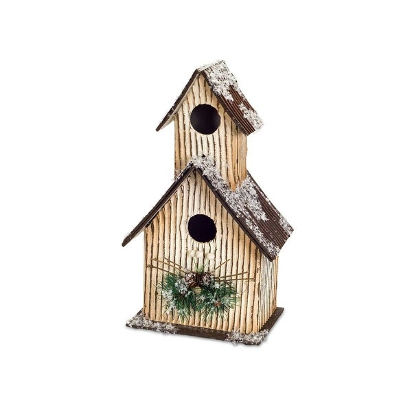 """Set of 2 Chocolate Brown and Dark Green Decorative Birdhouse with Snowflakes 12.5"""" - N/A"""