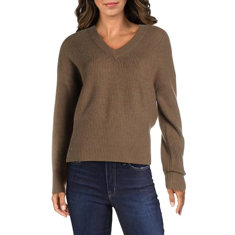French Connection Womens Sweater V-Neck Ribbed Trim