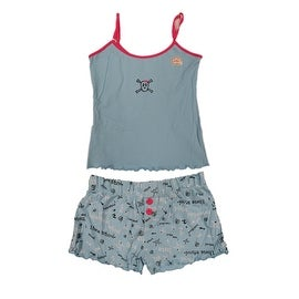 Junior Teenage Girls' 2Pc Tank Top + Shorts Pajamas Set (Option: M)