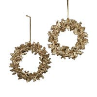 Club Pack of 24 Gold Glittered Leaf-Style Christmas Ornaments 4.5""