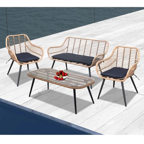 4 Piece Outdoor Wicker Sofa Set Love Seat Chairs Table