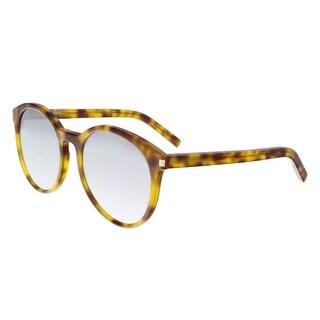Saint Laurent CLASSIC 6-010 Olive Havana Round Sunglasses - olive havana