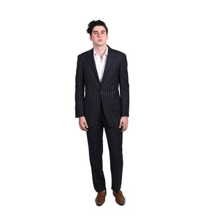 Versace Men's Pinstripe Two-piece Wool Suit Navy/White