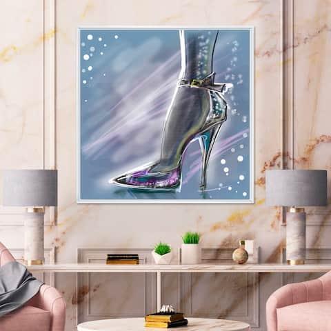 Designart 'Shiny Shoe High Heeled Stiletto With Glitter' Modern Framed Canvas Wall Art Print