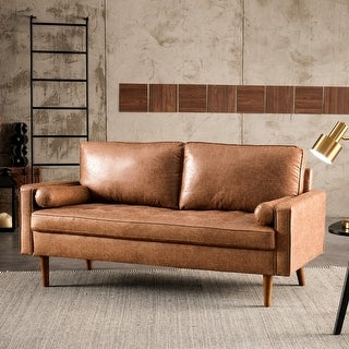 Link to Ovios High Back Couch Mid-century Spring Top Grain Leather Wood Legs Sofa Similar Items in Living Room Furniture