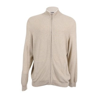 Club Room Men's Silk Blend Zip Cardigan