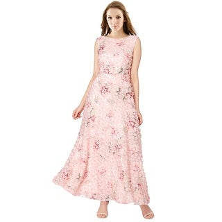 Tahari ASL Floral A-Line Sleeveless Evening Gown Dress